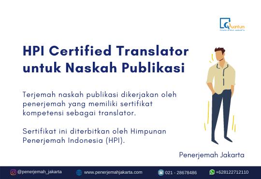 HPI certified translator untuk naskah publikasi
