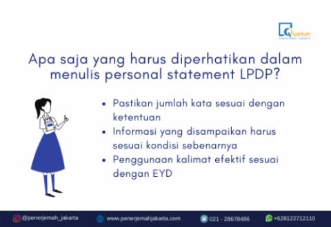 harus diperhatikan dalam menulis personal statement LPDP