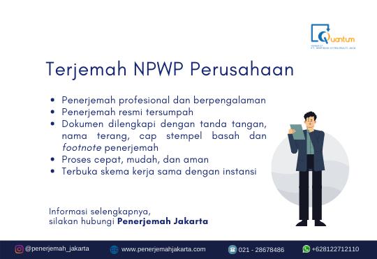 Terjemah NPWP Perusahaan