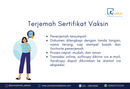Terjemah Sertifikat Vaksin