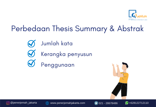 Perbedaan thesis summary dan abstrak